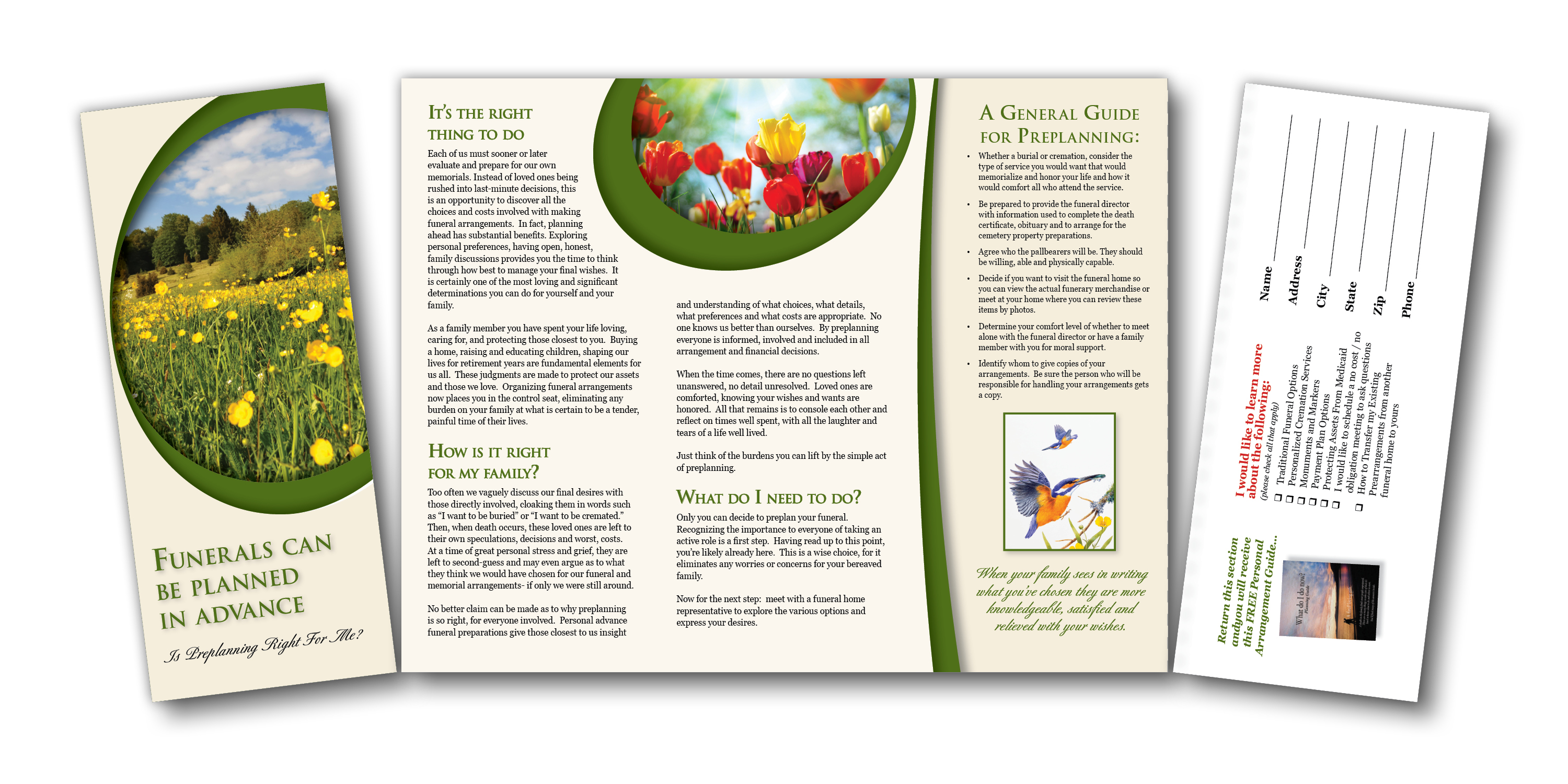 Brochure with Reply Card - Funerals Can Be Planned In Advance BRR_1002